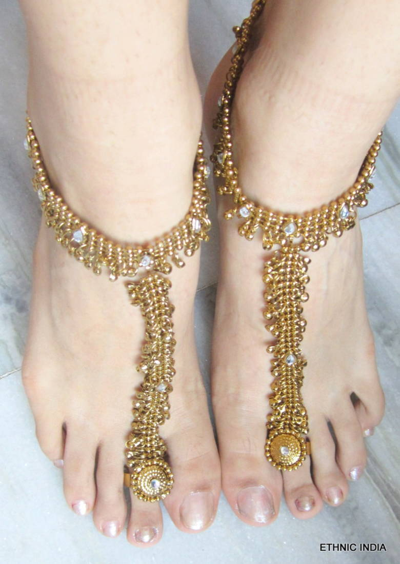d9407e7f9 ANTIQUE GOLD PAYAL ANKLET PAIR ATTACHED TOE RING - ETHNIC INDIA - 144832