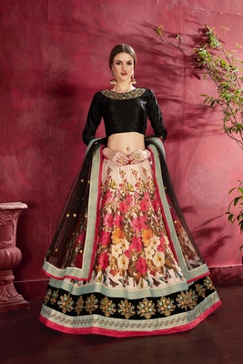 Black embroidered silk semi stitched lehenga