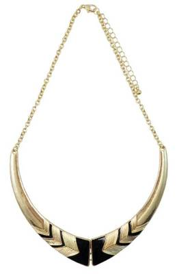 Black enamel Aztec pattern necklace