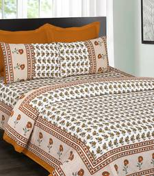 White and Orange Jaipuri Cotton Double Bedsheet