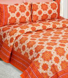 White and Orange Jaipuri Cotton Double Bedsheet