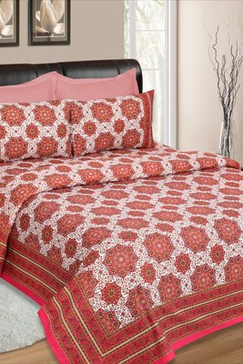 White and Red Jaipuri Cotton Double Bedsheet
