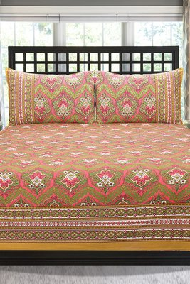 Pink Jaipuri Cotton Double Bedsheet