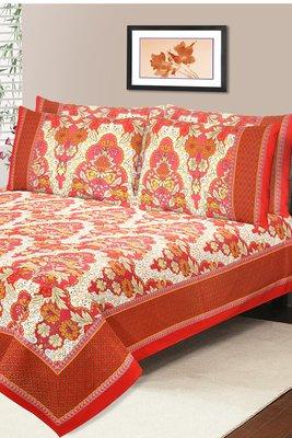 Rust Jaipuri Cotton Double Bedsheet