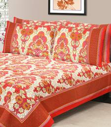 Rust Jaipuri Cotton Double Bedsheet