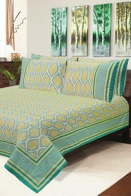 Green Jaipuri Cotton Double Bedsheet