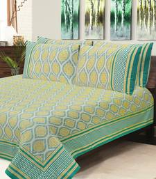 Green Jaipuri Cotton Double Bedsheet