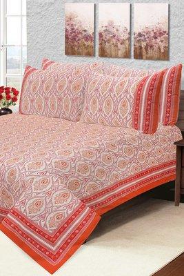 Red Jaipuri Cotton Double Bedsheet