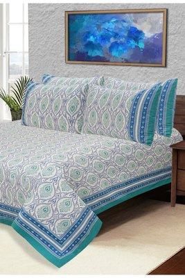 Blue Jaipuri Cotton Double Bedsheet