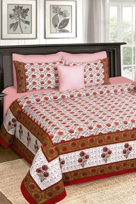 Red and White Jaipuri King Size Cotton Bedsheet