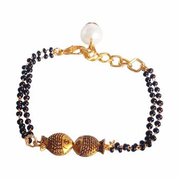 Attractive Gold Tone Black Beads & American Diamond Gold Plated Classic Hand Mangalsutra Bracelet Women and Girls