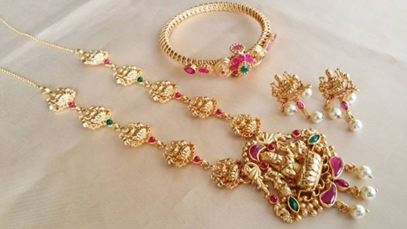1 Gram Gold Necklace With Bangle Combo