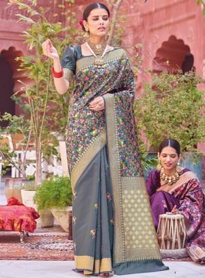 Grey woven silk saree with blouse