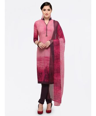Pink printed crepe unstitched salwar with dupata with dupata