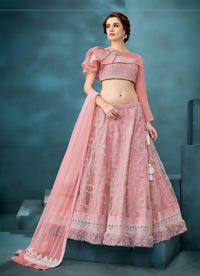 Light-pink embroidered net semi stitched lehenga