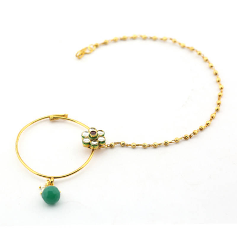 buy gold emerald nose ring