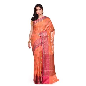 Pink hand woven banarasi saree with blouse