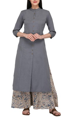 Grey plain cotton long-kurtis