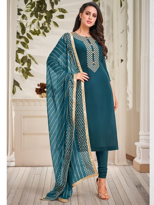 Teal embroidered chanderi silk salwar