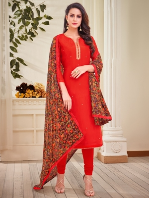 Red embroidered chanderi silk salwar