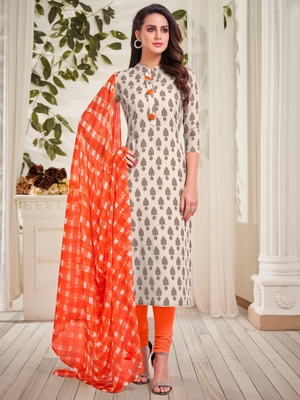 Off-white printed pure cotton salwar