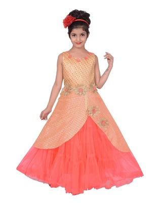 Orange plain net kids-frocks