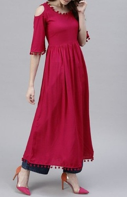 Maroon plain cotton long-kurtis