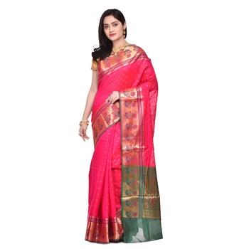 Rani pink hand woven banarasi saree with blouse