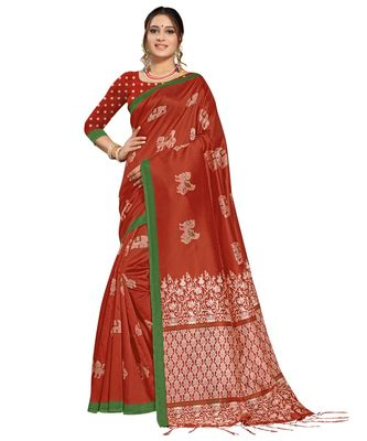 Brown plain art silk saree with blouse with blouse