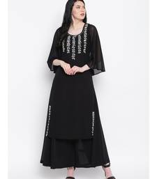 Black georgette sequence work kurti with flared palazzo
