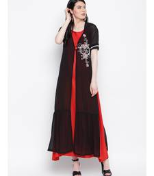 Black georgette hand embroided poth motee shrug with red rayon cotton gown