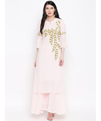 Georgette peach colour hand embroided kurti with flared palazzo