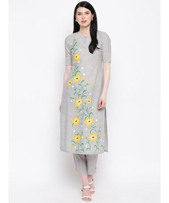 Grey handloom hand painted sunflower kurti with trousers