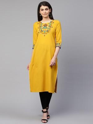 Mustard embroidered cotton ethnic-kurtis