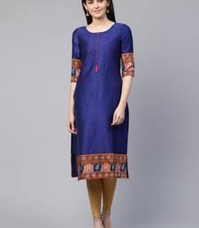 Blue plain cotton ethnic-kurtis