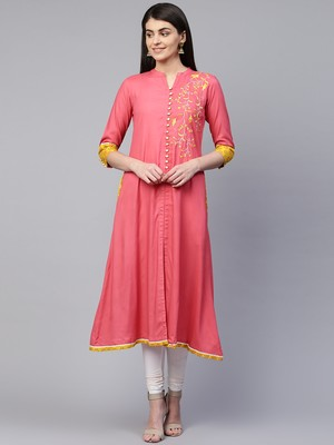 Pink embroidered viscose rayon ethnic-kurtis