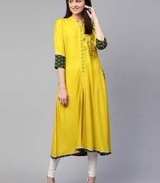 Yellow embroidered viscose rayon ethnic-kurtis