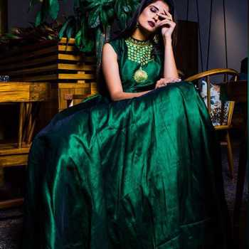 Green Hand Worked Fashion Silk Blend Full Stitched Ethnic Gown