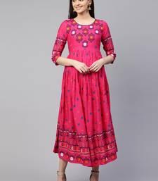 Pink printed viscose rayon maxi-dresses