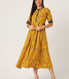 Mustard printed viscose rayon maxi-dresses