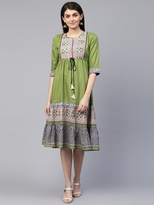 Green printed cotton maxi-dresses