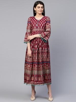 Wine printed cotton maxi-dresses