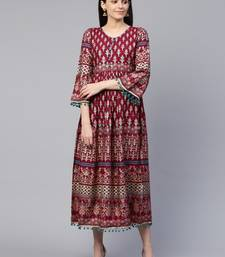 Wine printed cotton maxi-dresses