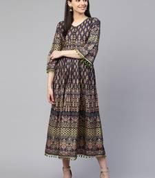 Grey printed cotton maxi-dresses
