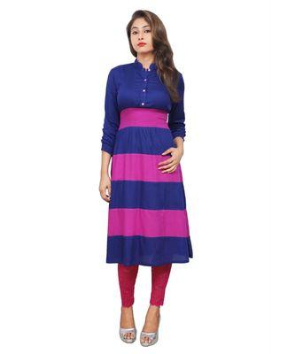 blue printed rayon kurti