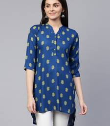 Blue printed viscose rayon tunics