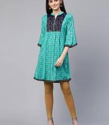 Teal embroidered viscose rayon tunics