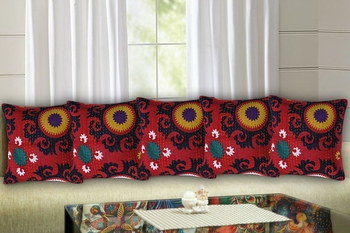Texstylers 100% Cotton 16x16 Inches Assorted kantha work Embroidery Cushion cover(Pack of 5)