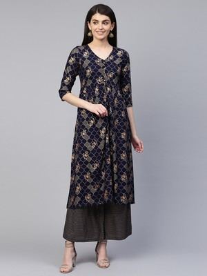 Navy-blue printed viscose rayon ethnic-kurtis
