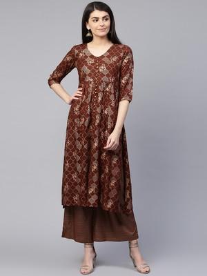 Brown printed viscose rayon ethnic-kurtis